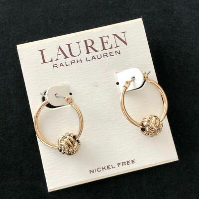 New Lauren Ralph Lauren Gold Knot Hoop Earrings Nickel Free Fashion Jewelry