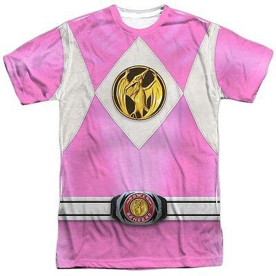 Power Rangers Pink Emblem Logo Costume Outfit Uniform Sublimation Front T-shirt - Power Rangers Outfit