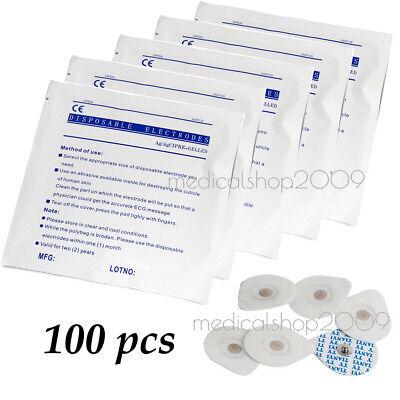 100pcs Disposable Conductive Electrode Pads Ecg Ekg Resting Gel Foam Tab