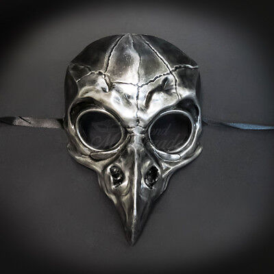 Masquerade Mask New Silver Steampunk Vulture skull Men Halloween Costume Party](Halloween Masquerade Masks For Men)