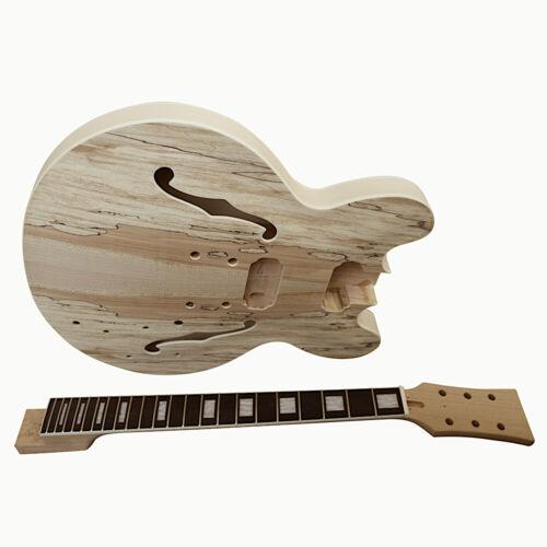 Coban Guitars DIY Kit Spalted Maple Veneer Chrome Black Fittings ES260