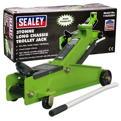 Sealey Heavy Duty High Vis 3 Tonne Long Car Chassis Lift Lifting Trolley Jack