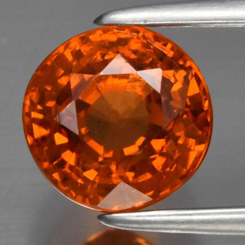 2.15ct 6.5mm Round Natural Orange Spessartite Garnet, Namibia
