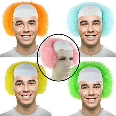 5 Colorful Men Clown Bald Head Cap With Hair Circus Evil Clown Costume Wave Wig (Bald Cap With Hair)