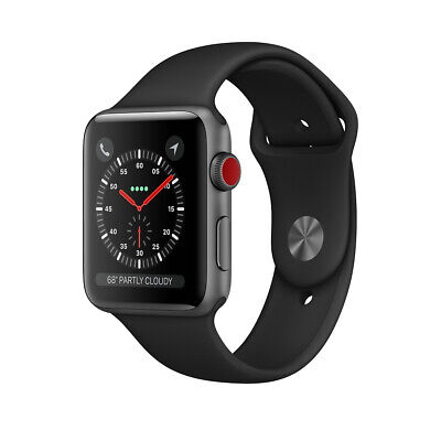 Apple Watch Series 3 38mm Smartwatch GPS+Cellular Black Case Black Band B**