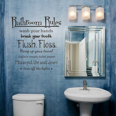 Bathroom Rules Wash Vinyl Wall Home Decor Decal Quote Room Inspirational - Cute Inspiration