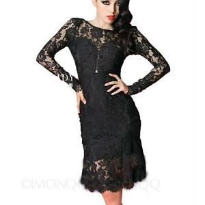 ebay long black lace dress