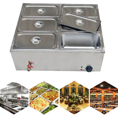 6-pan Bain-marie Buffet Steam Table Restaurant Food Warmer 110v Higha-quality