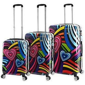 "Mia Viaggi Italy Hardside Luggage 3 Piece (20""/24""/28"") Nested Spinner Set - Pop Love"