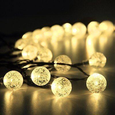6m 30 LED Solar Lichterkette Warmweiß Party Garten Dekoration Außenbeleuchtung