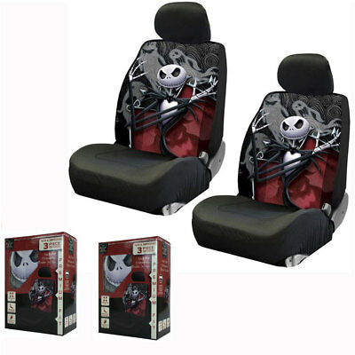 New Nightmare Before Christmas Jack & Ghost Front Pair Low Back Car Seat Covers ()
