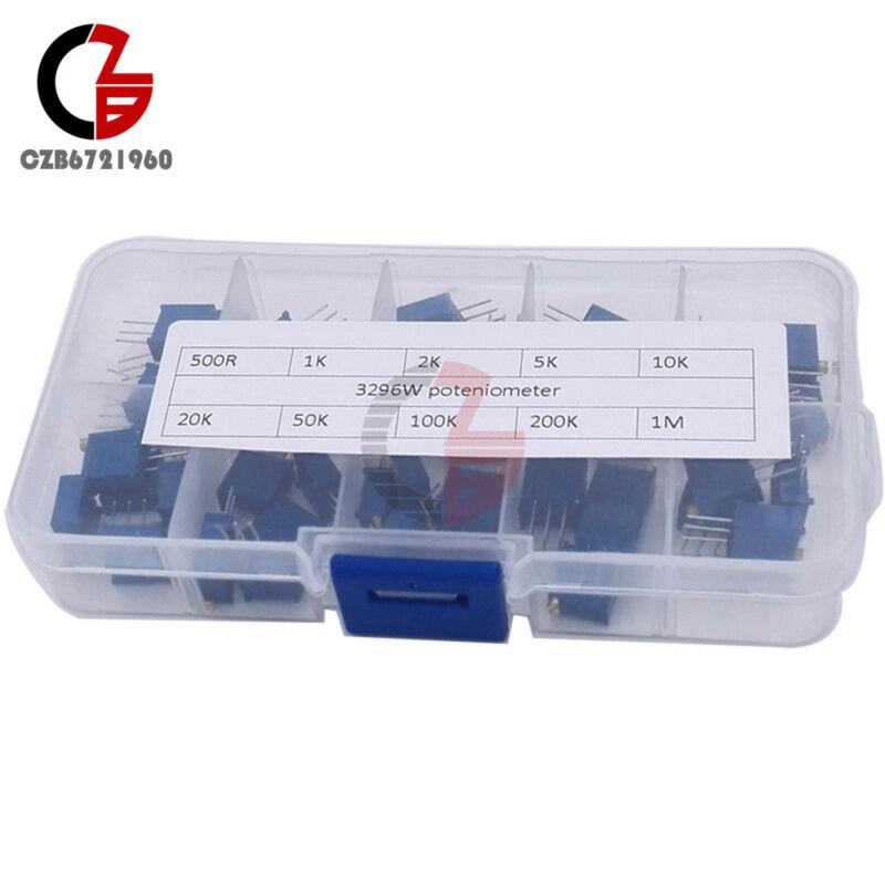 10 Value 3296 Multiturn Variable Resistor Trimmer Potentiometer Kit 50PCS +Case