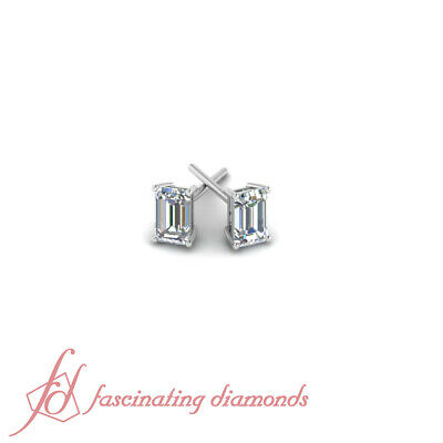 1 Ct Emerald Cut Ladies Diamond Solitaire Stud Earrings GIA 14K White Gold
