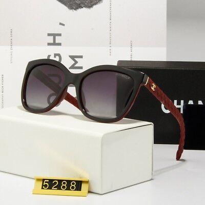 Sunglasses-Polarized@¹Chanel@¹Oversized-Black Red Gold-Logo Grey Lenses