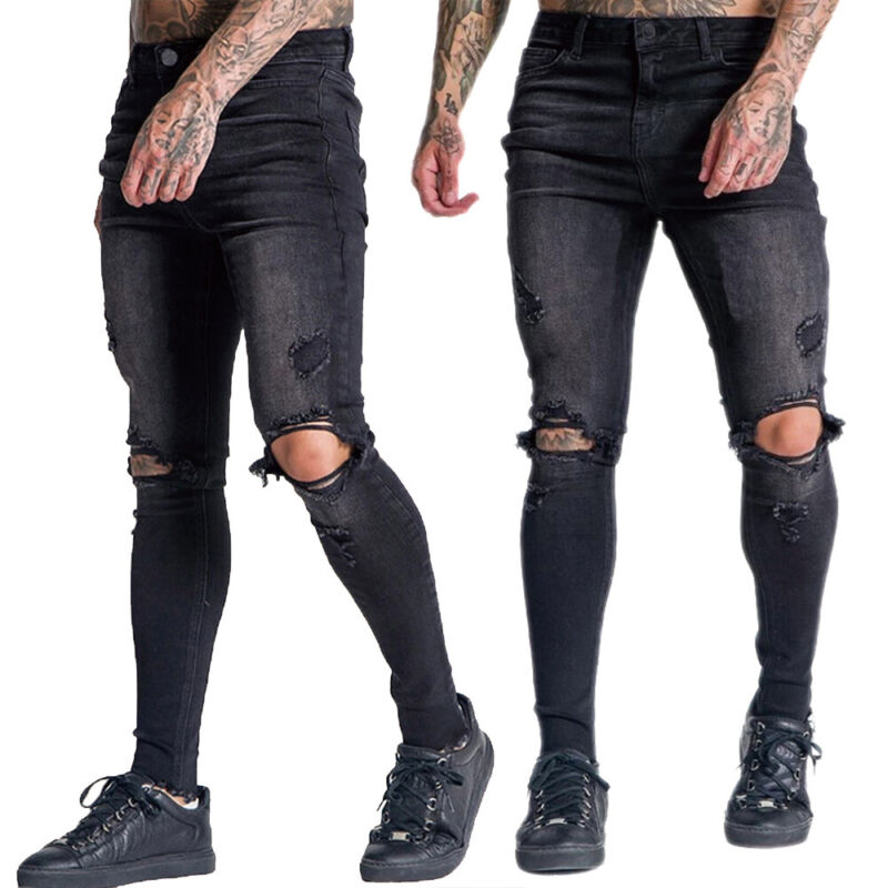 Men Ripped Denim Jeans Biker Trousers Casual Skinny Slim Fit Long Pants Bottoms Clothing, Shoes & Accessories