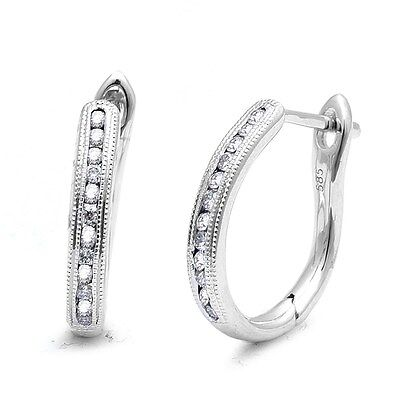 .25ct F-G VS1-VS2 Round Diamond Hoop Huggie Earrings 14kt White Gold Vs1 Vs2 Earrings