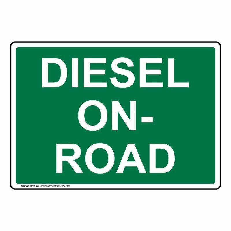 Diesel On-Road Label Decal, 7x5 inch Vinyl for Fuel by ComplianceSigns