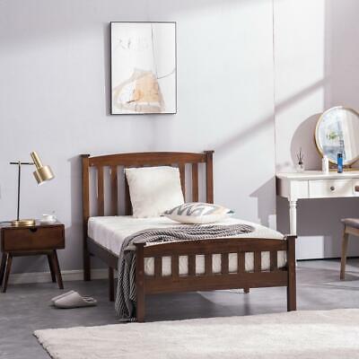 Twin Size Wooden Platform Bed Frame Foundation w/ Headboard Wood Slats Walnut