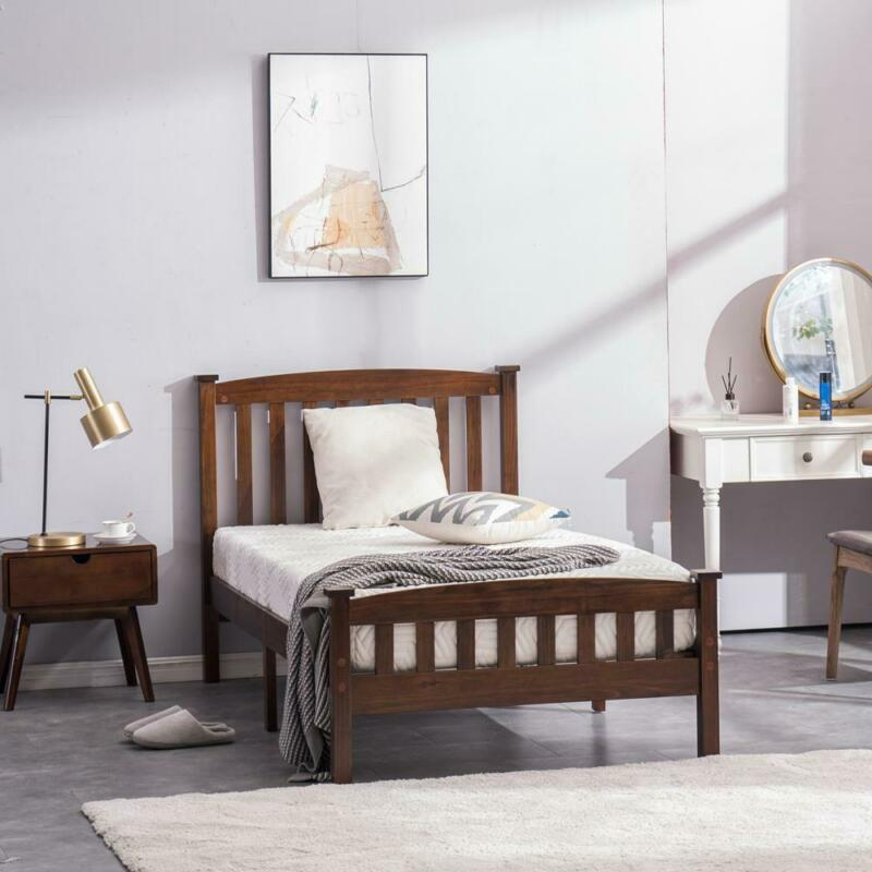 Twin Size Wooden Platform Bed Frame Foundation w/Headboard Wood Slats Walnut