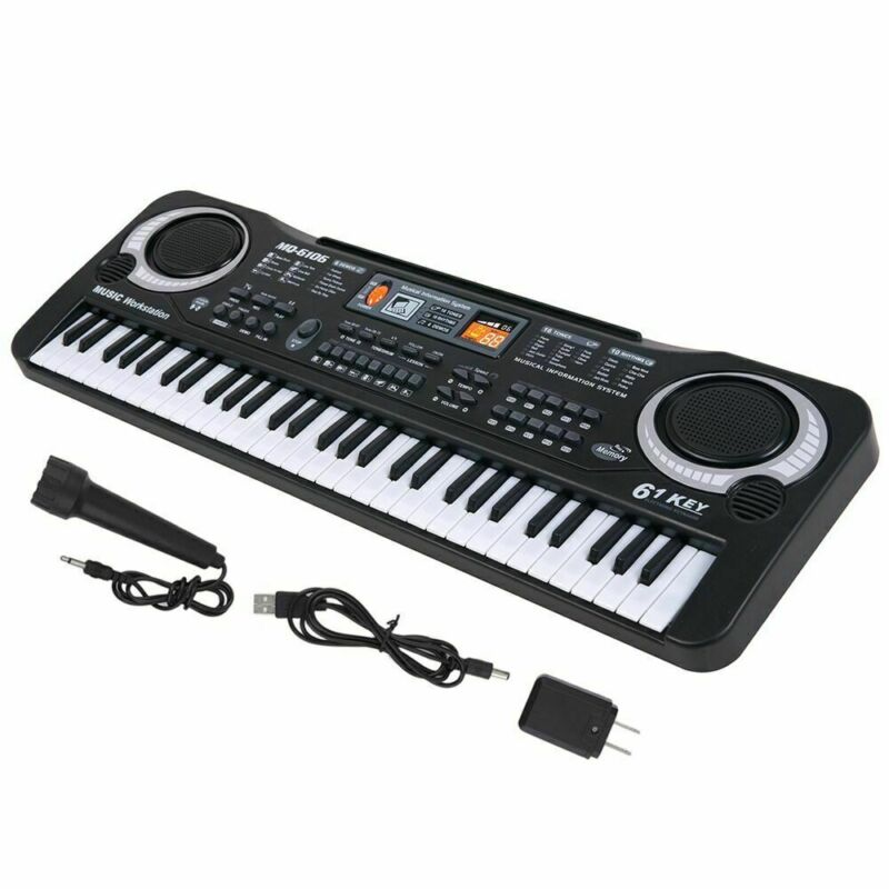 61 Key Digital Music Electronic Keyboard Kids Gift Electric Piano Organs w/ Mic