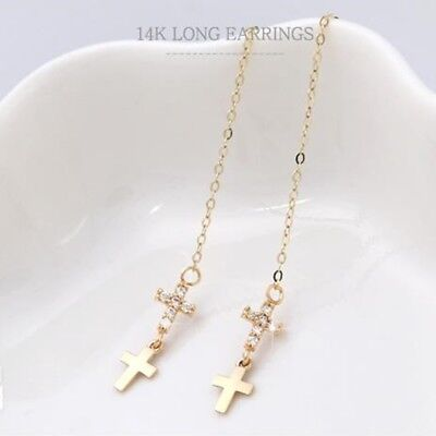14K Solid Yellow Gold Double Cross Long Threader Dangle a Pair of Earrings TPD