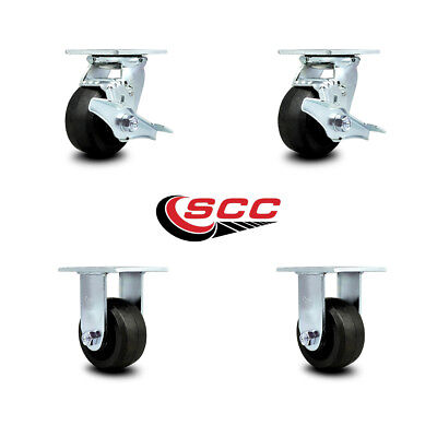 Scc 4 Rubber On Cast Iron Caster Set Of 4 - 2 Swivel Wbrakes2 Rigid