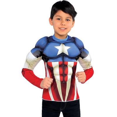 Captain America Bürgerkrieg Muskel Jungen T-Shirt Kostüm Marvel Comics Neu ()