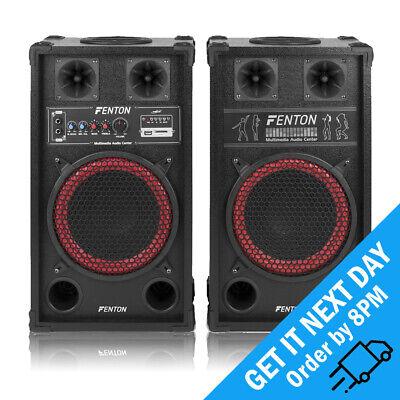 "SPB Powered 10"" USB SD Bluetooth DJ Party Active Passive Speaker Pair 600W"