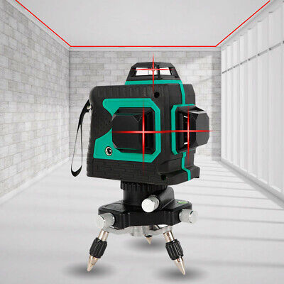 3d 360 12 Line Laser Level Self-leveling Cross Horizontal Vertical Measure Tool