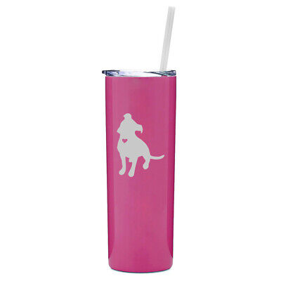 20 oz Skinny Tumbler Stainless Steel Travel Mug w/ Straw Cute Pitbull With Heart - Cute Tumblers With Straws