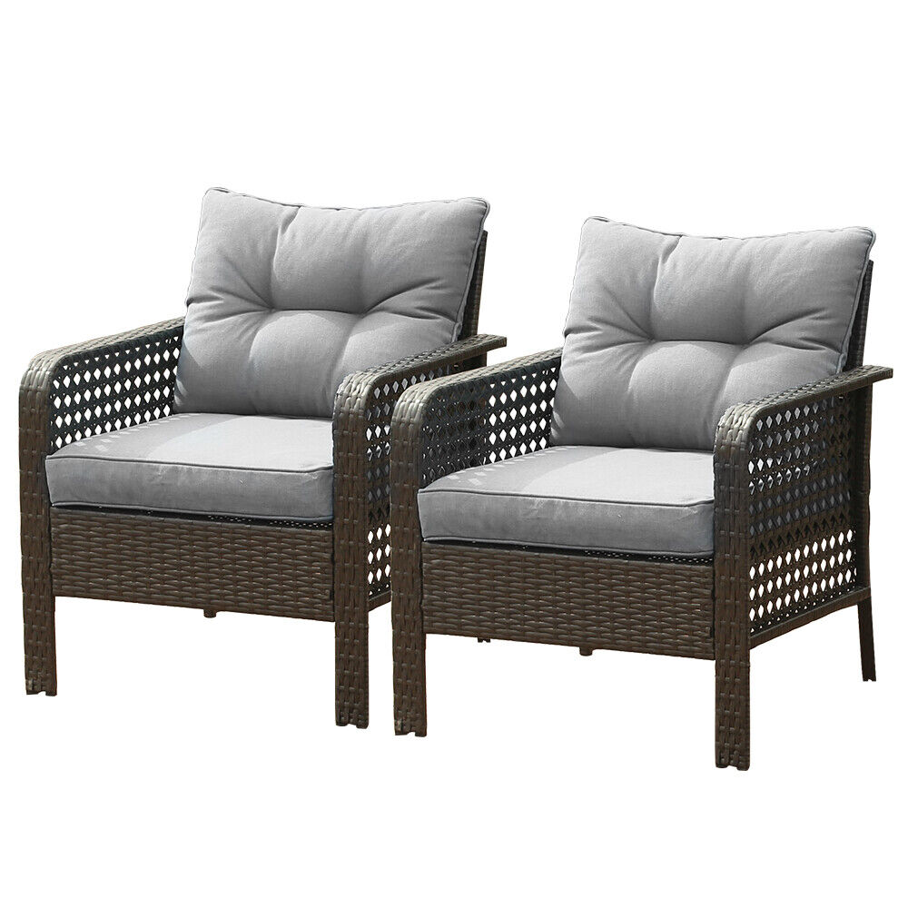 Garden Furniture - 2PC Patio Rattan Sofa Set Wicker Garden Furniture Outdoor Sectional Couch Gray