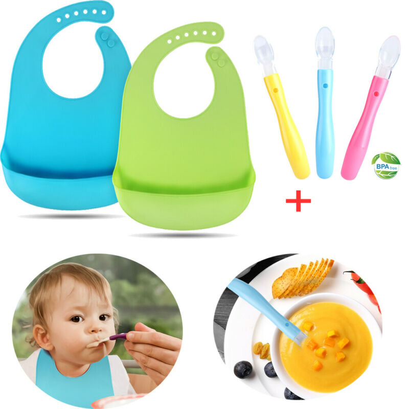 2x Food-graded Silicone Soft Baby Bibs & 3x Baby Teething Friendly Baby Spoons