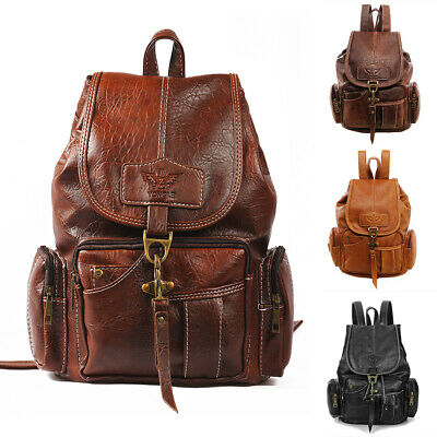 Women PU Leather Backpack Shoulder Satchel Vintage School Travel Bag Rucksack