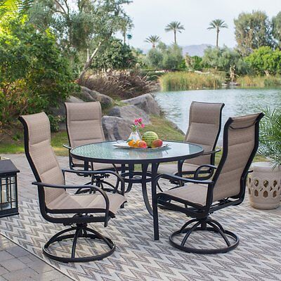 5 Piece Sling Padded Swivel Rocker Seating Patio Dining Set Outdoor Furniture