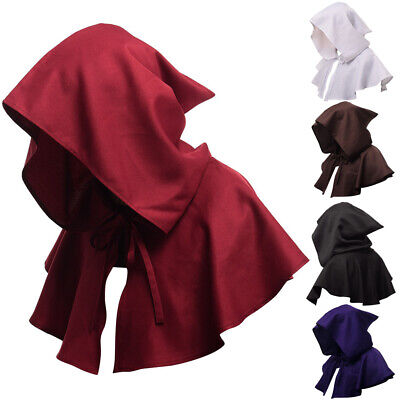 Devil Cape Costume (Adults Hooded Cloak Gothic Devil Cape Costume Medieval Witch Wizard Fancy)