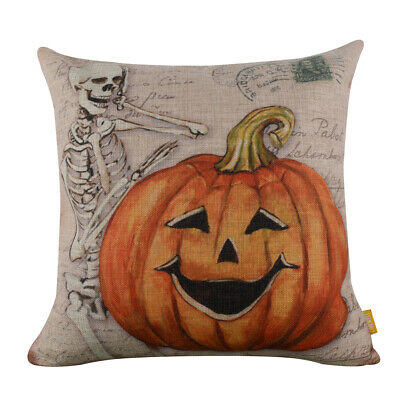 Happy Halloween Pillow Covers Vintage Skull Pumpkin Cushion Cover Fall Decor 18