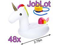 Joblot - 48x 2.75m Giant Inflatable Unicorns - Beach Swimming Pool Inflatable