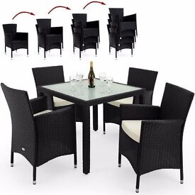 **FREE UK DELIVERY** German New Edition Poly Rattan Garden Set With  Stackable