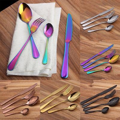 4Pcs/set Stainless Steel Knife Fork Spoon Teaspoon Kitchen Coffee Tool 5Color