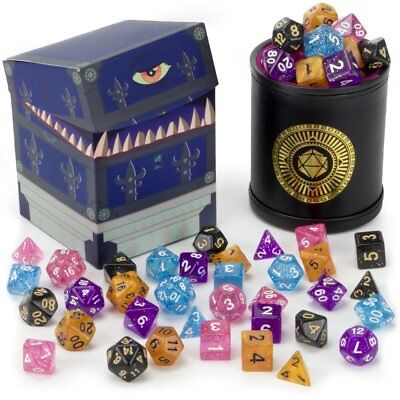Cup of Wonder: 5 Sets of 7 Premium Glitter Polyhedral Role Playing Gaming Dice Dungeons Dragons Premium Dice