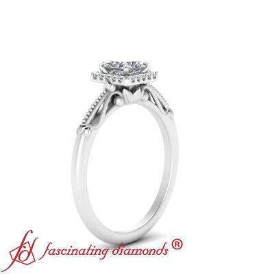 Princess Cut Diamond Vintage Milgrain Halo Engagement Ring In White Gold 0.85 Ct 2