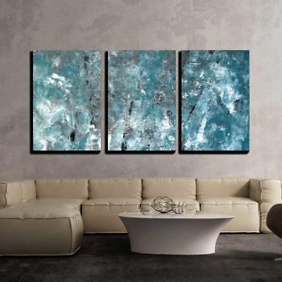 """Wall26 - Teal and Grey Abstract Art Painting - Canvas Wall Art- 24""""x36""""x3 Panels"""