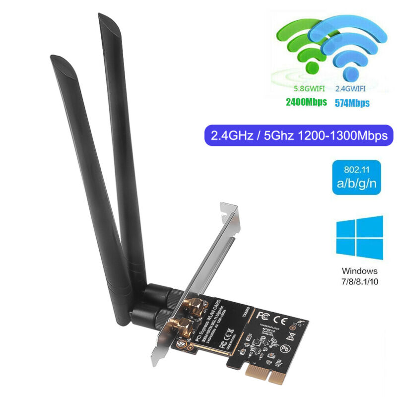 1200Mbps PCI-E Wireless WiFi Network Card 2.4G/5G Dual Band For PC Desktop Win10