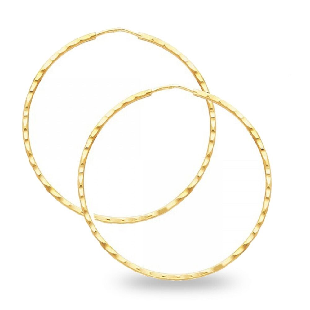 Details About Solid 14k Yellow Gold Endless Hoop Earrings Diamond Cut Textured Design Fancy
