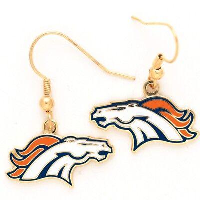 Denver Broncos Wincraft NFL Team Logo Wire Earrings FREE SHIP