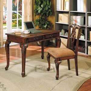 writing study computer wood table desk 2 drawers chair brown cherry