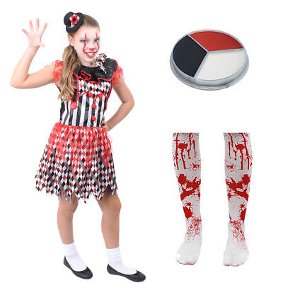 GIRLS KILLER CLOWN COSTUME HALLOWEEN EVIL HARLEQUIN JESTER FANCY DRESS AND HAT