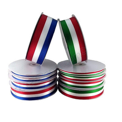 Flag Ribbon (American or Mexican Flag Stripes Satin Ribbon 100% Polyester 50 or 25 yard)