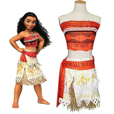 Kids Moana Princess Girls Dress Cosplay Costume Grass Skirt Necklace Set Girls](Cosplay Female Costumes)