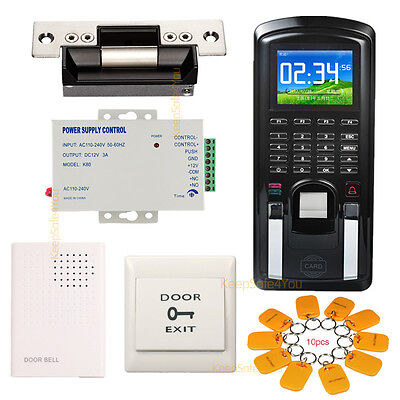 Color Fingerprintrfid Password Door Access Control System Time Attendance Kit